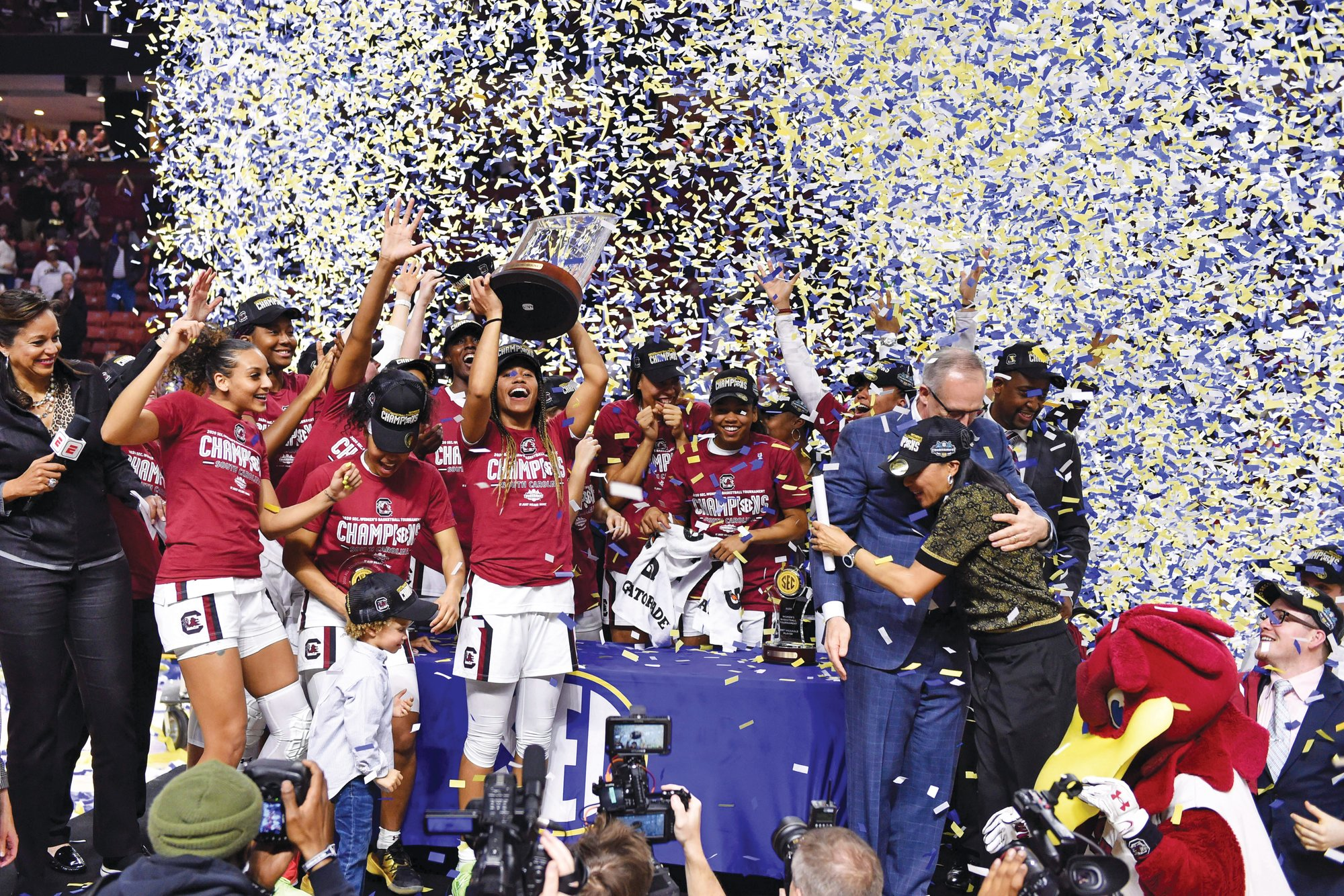 The South Carolina women's basketball team, seen here celebrating its SEC championship, received the best consolation prize it could hope for after the NCAA tournament was cancelled, as the Gamecocks finished the season No. 1 in The Associated Press Top 25 for the first time in program history.