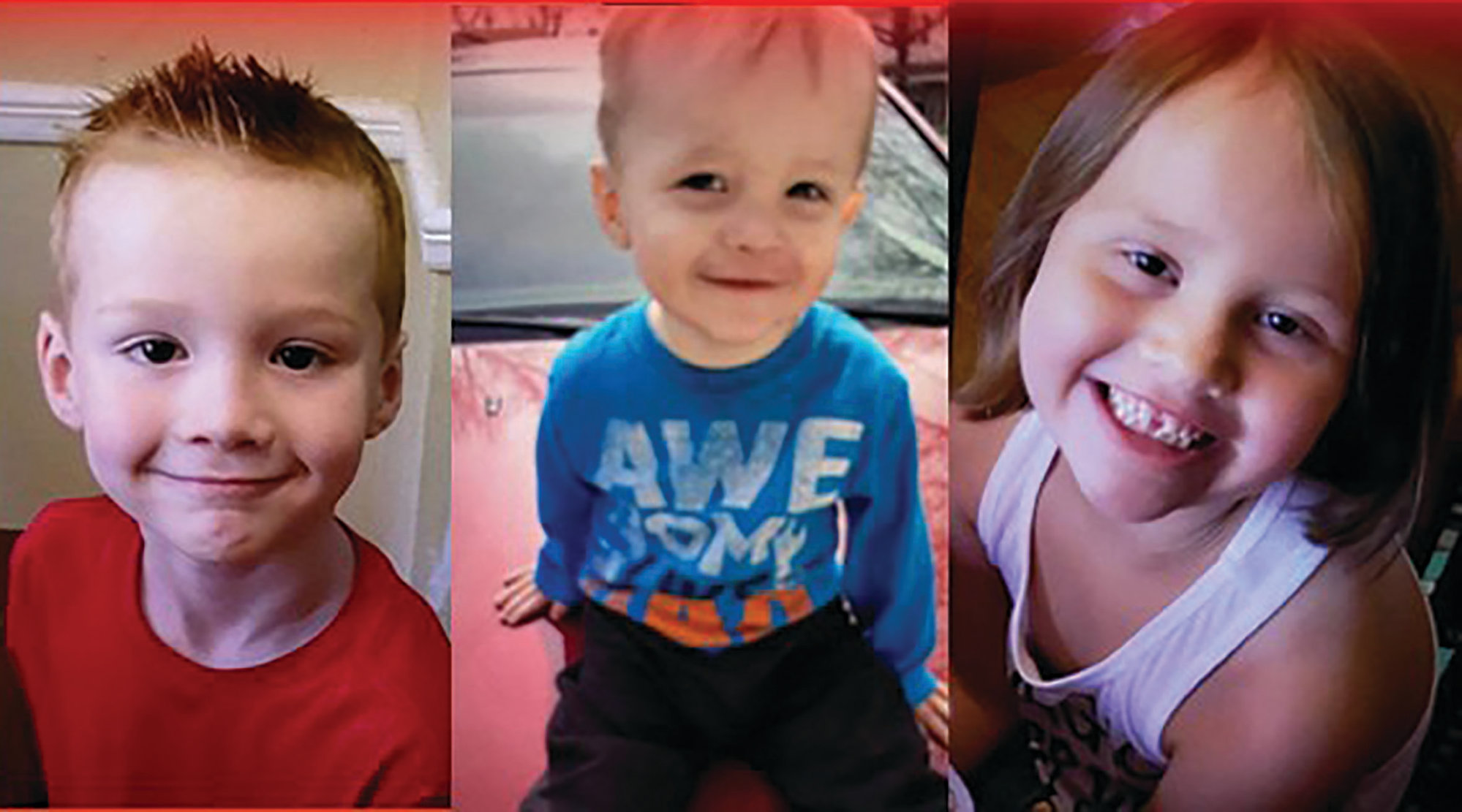 PHOTO PROVIDEDTaken from an Amber Alert poster, are photos of three children found safely in Clarendon County: Cameron Allison, 6; Colin Allison, 1 1/2; and Emma Allison, 6.