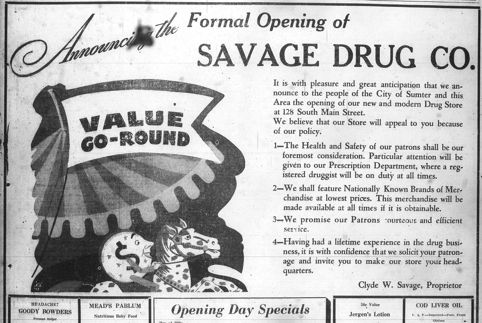 The Savage Drug Company announced its opening in the Nov. 23, 1945, edition of The Sumter Daily Item.