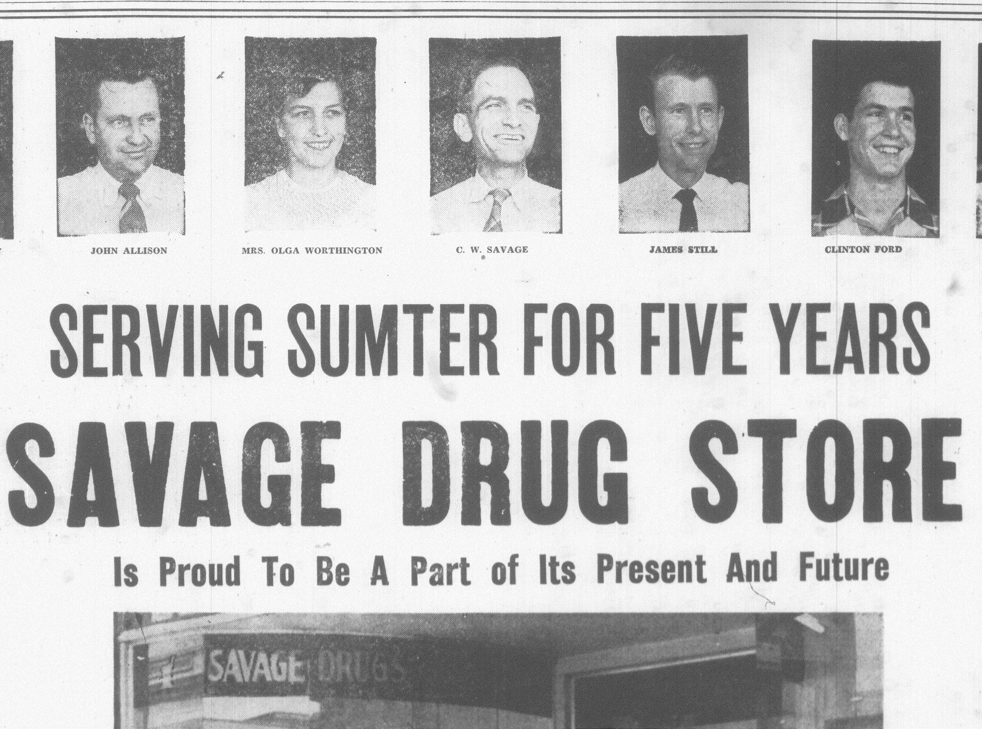 Savage Drug Store celebrated being open for five years in 1950.
