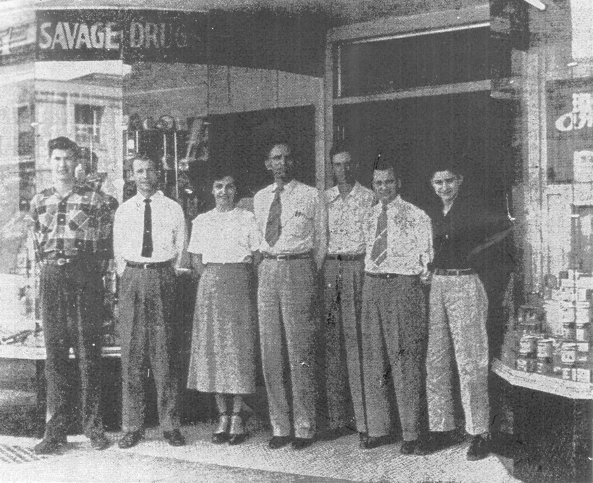 Savage Drug Store was owned by Clyde W. Savage and sold all manner of sundries in addition to prescriptions and hospital supplies.