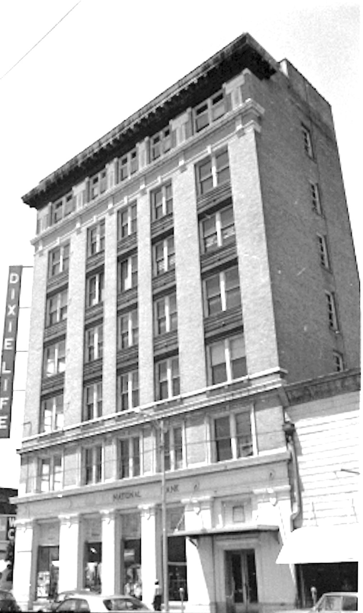 The Dixie Life Building is seen in 1972, the year before it was torn down.