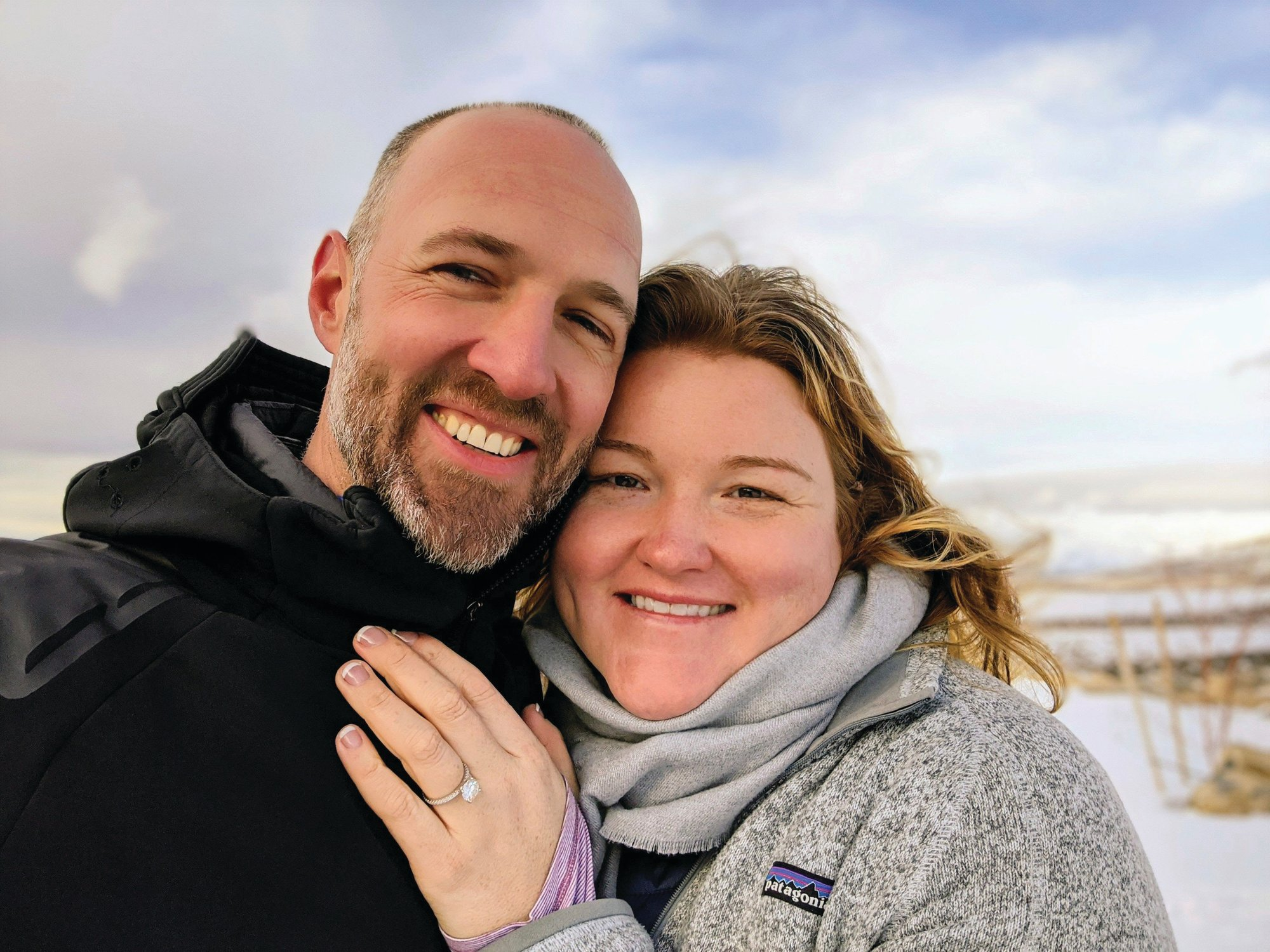 Kate Whiting and Jake Avery are seen on Feb. 6, soon after Avery proposed in Nevada's Ruby Mountains. The two had been planning a 300-person wedding but decided to marry June 6 in their backyard, with a big party after the coronavirus pandemic settles.
