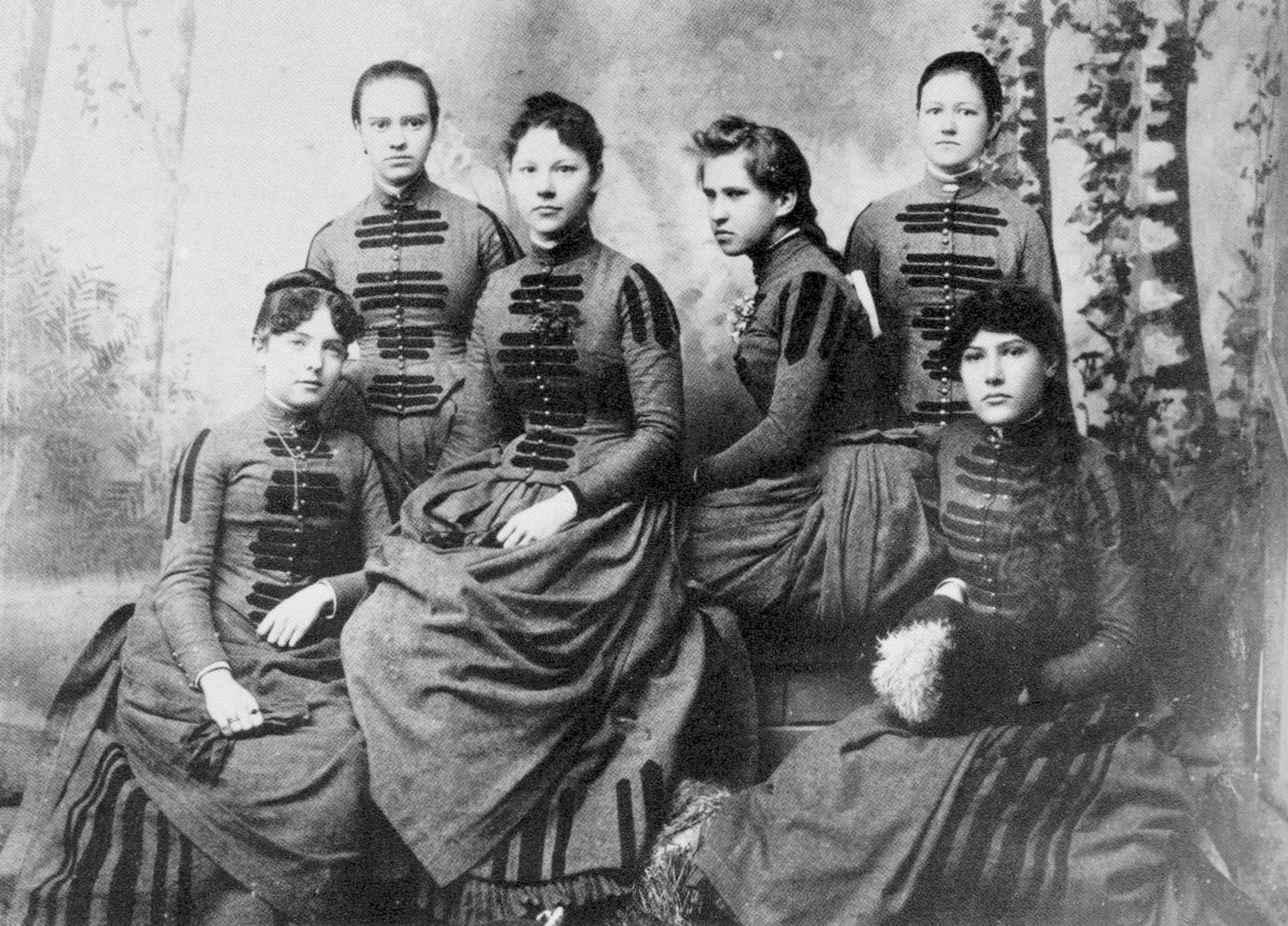 Sumter Female Institute graduating class of 1888 poses for a photo. The boarding school for women was founded in 1868 by Mrs. L.A. Brown and Eliza Cooper. It was on the north corner of Washington and Calhoun streets. The school ended operations at the turn of the century. Those graduating in 1888 were, from left, Fannie McKogen, Verdie Anderson, Catherine McLaurin, Mamie Edmunds, Hannah Fraser and Annie Grahm.    museum photo - john poindexter