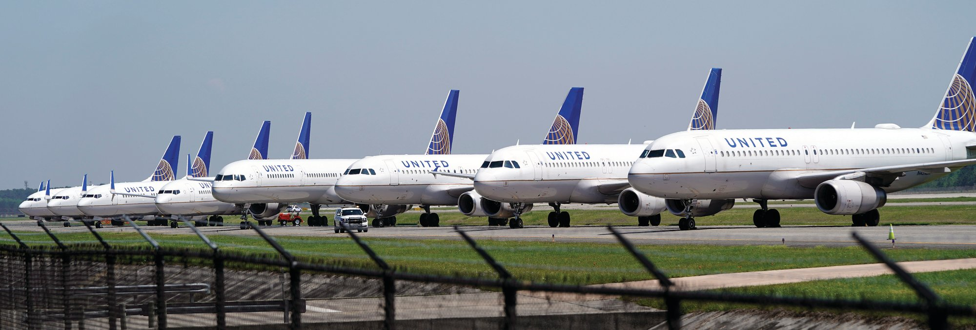 United Airlines planes are parked at George Bush Intercontinental Airport in Houston.