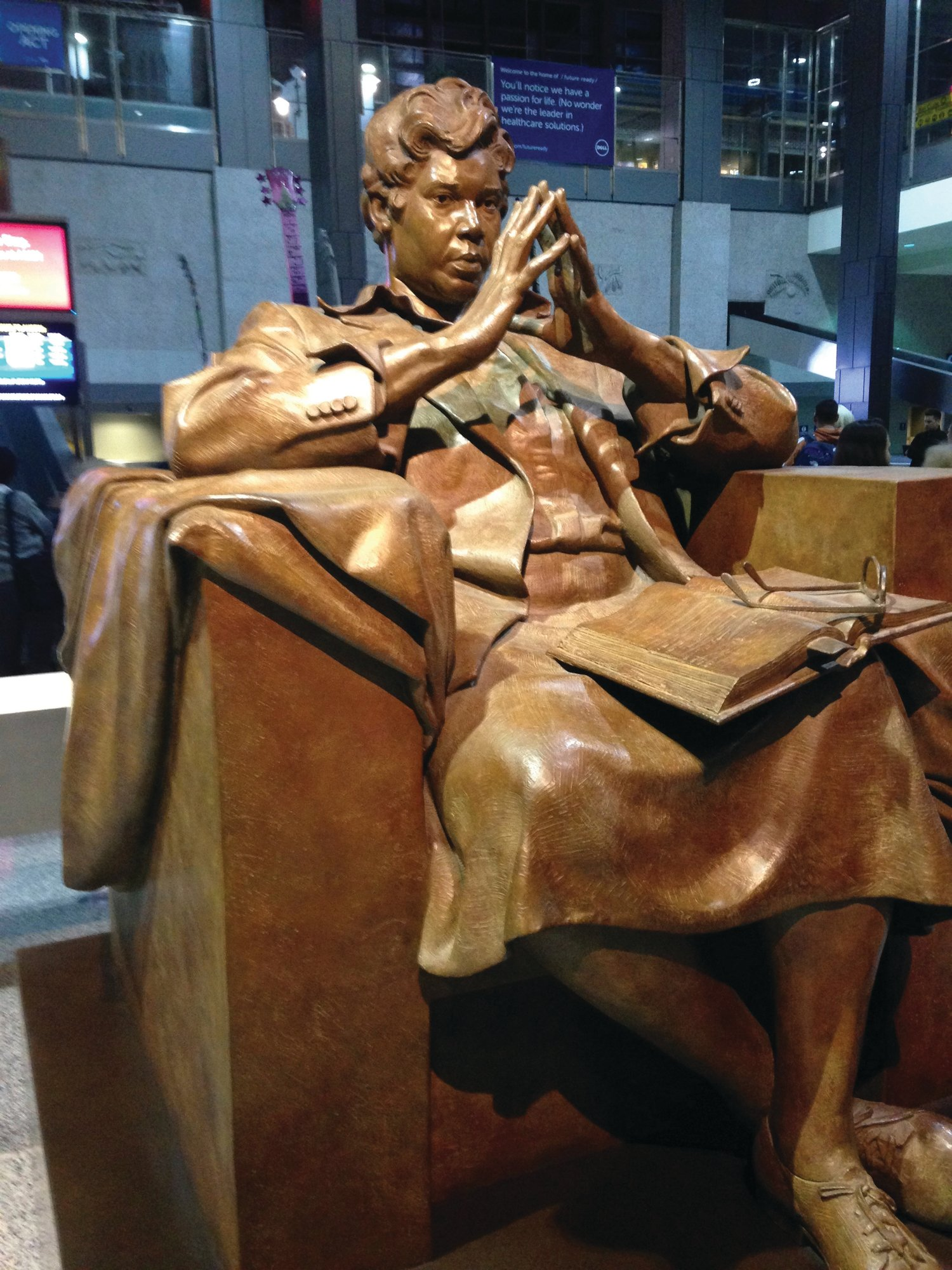 AP FILE PHOTO  A statue of former U.S. Rep. Barbara Jordan, the first African-American elected to the Texas Senate after Reconstruction and the first Southern African-American woman elected to the U.S. House of Representatives, sits at the Austin-Bergstrom International Airport in Austin, Texas. Jordan is another figure who activists say needs to be honored.