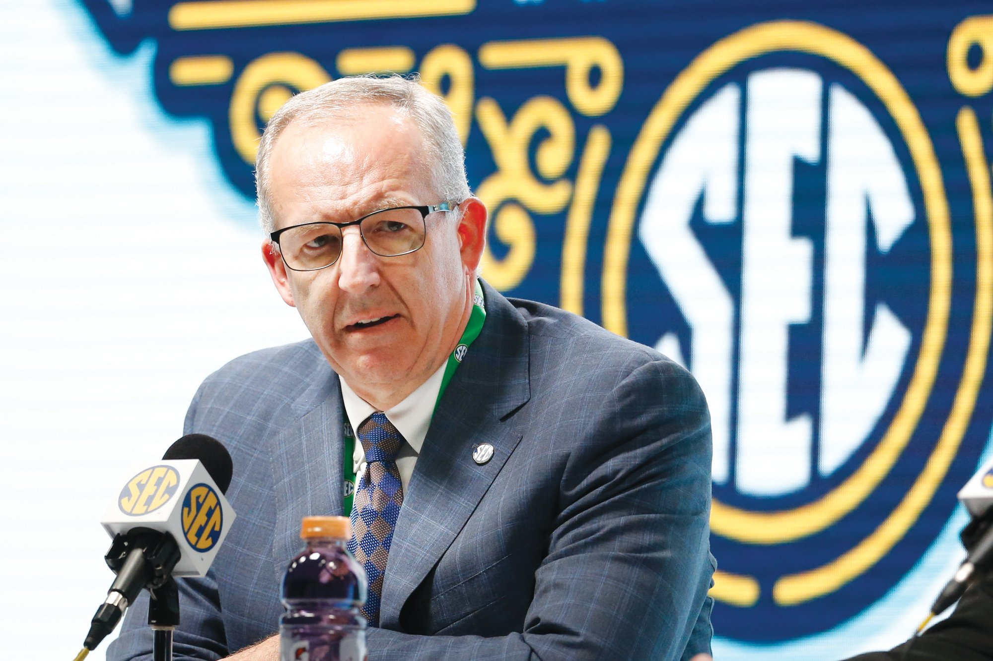 Southeastern Conference Commissioner Greg Sankey and other leaders in the conference met Wednesday to discuss plans for football in the fall.