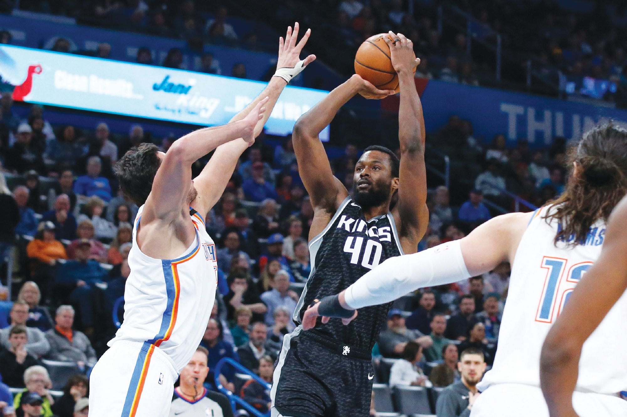Sacramento Kings forward Harrison Barnes (40) tested positive for the coronavirus, but still plans to join his team in Orlando, Florida for the NBA restart once he has been cleared to return.