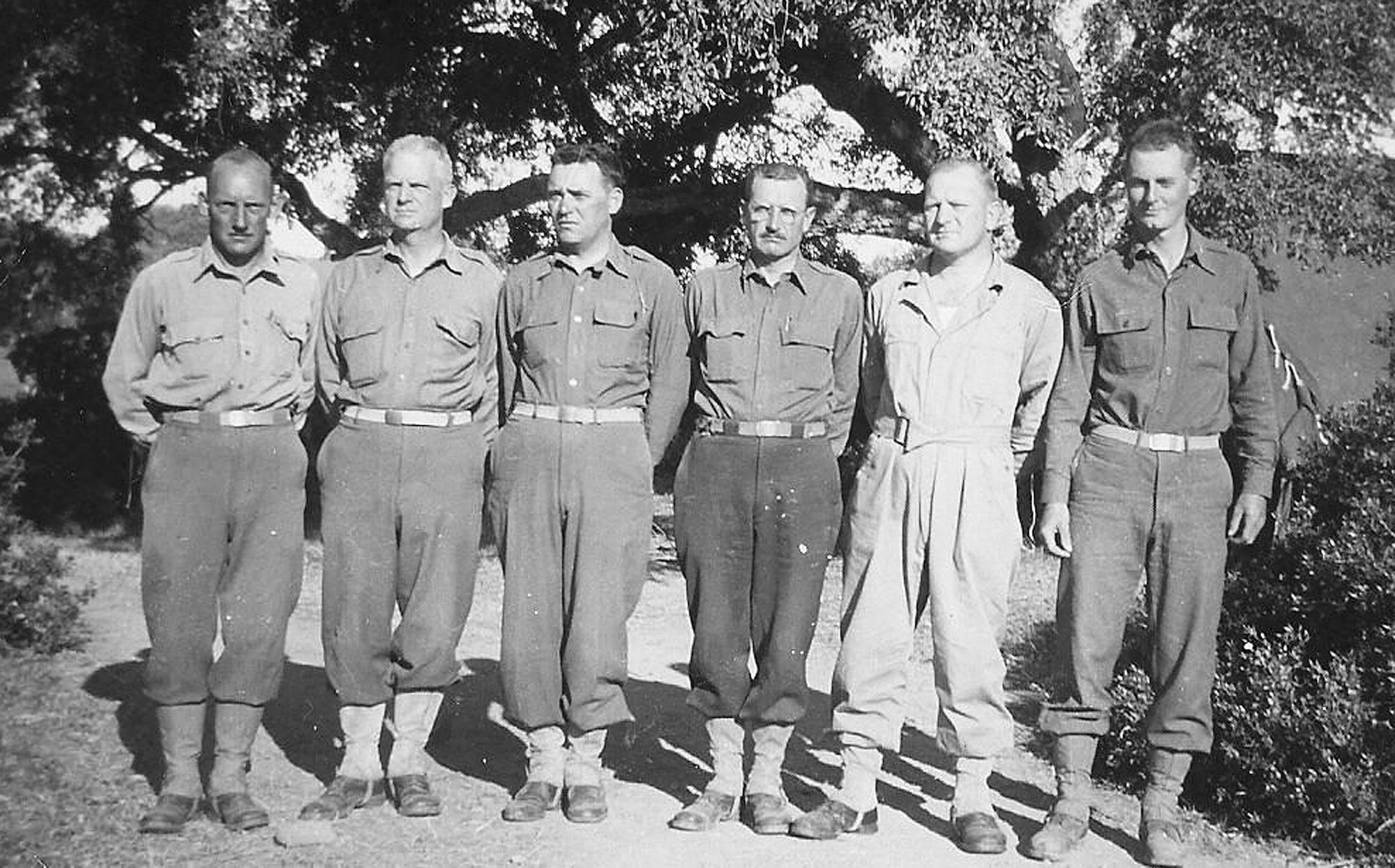 Officers of the 178th Field Artillery Battalion are seen in North Africa in 1943. They were, from left, Capt. Felters, liaison officer; Maj. Wilson; Lt. Col. Westbury; Maj. McInnis; Capt. Hanemann; and Lt. Van Arsdale.