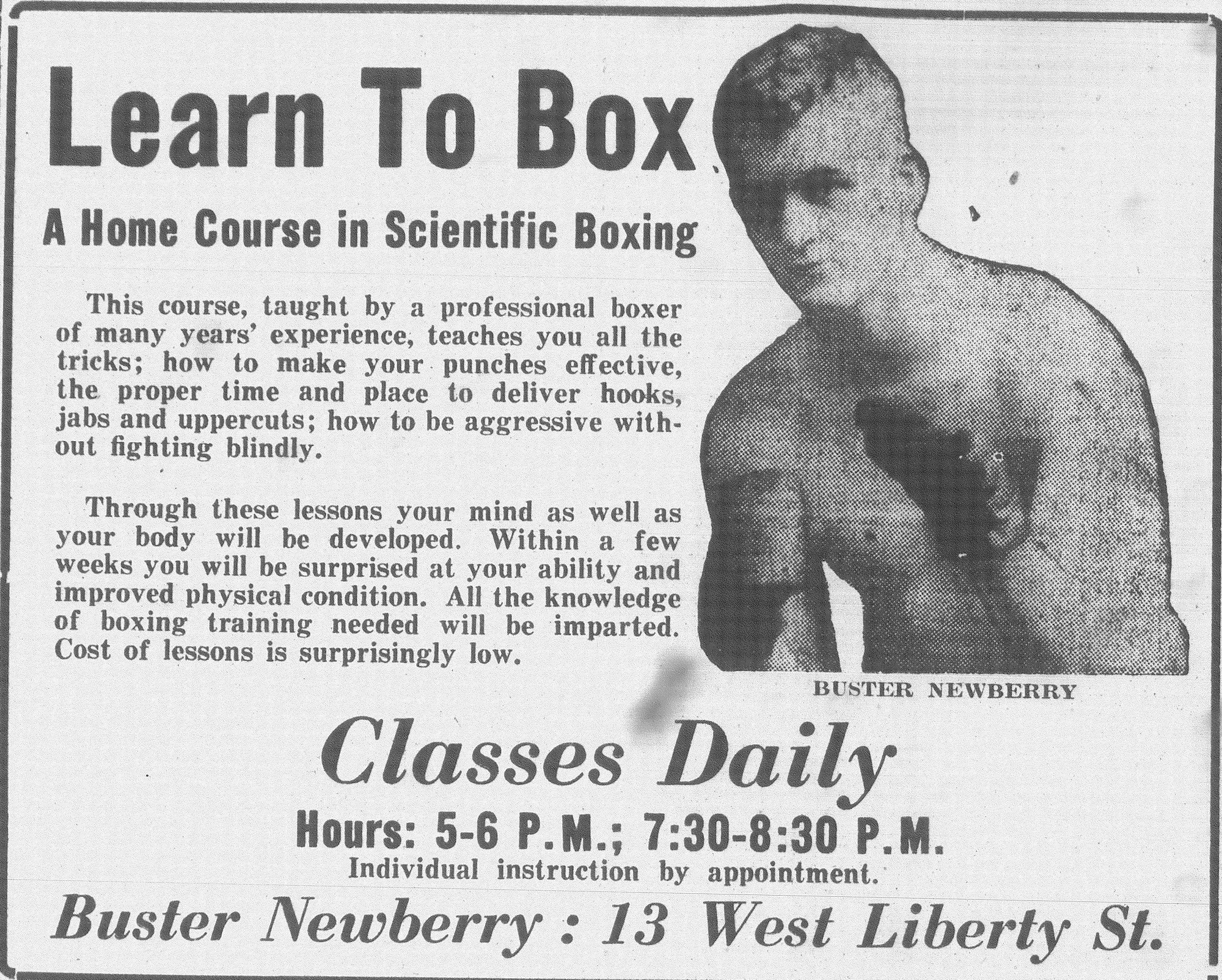 Newberry became an instructor for boxing in Sumter after his fighting career, holding classes throughout the week.