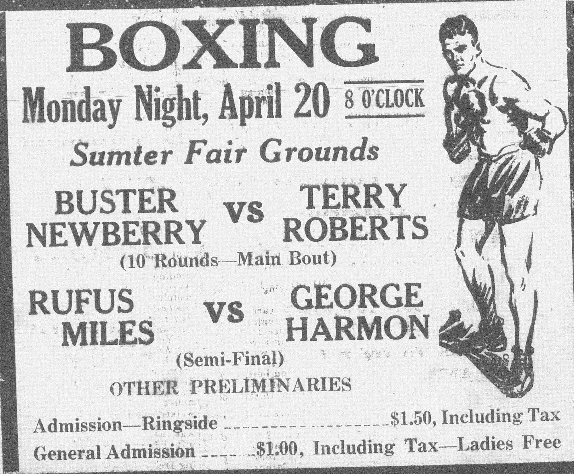 Boxing became popular in Sumter, with matches being held at the fairgrounds and Sunset Lake (Second Mill).