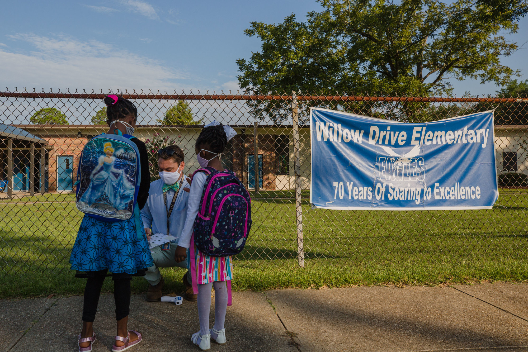 Students are welcomed to school at Willow Drive Elementary to participate in LEAP days on Thursday.