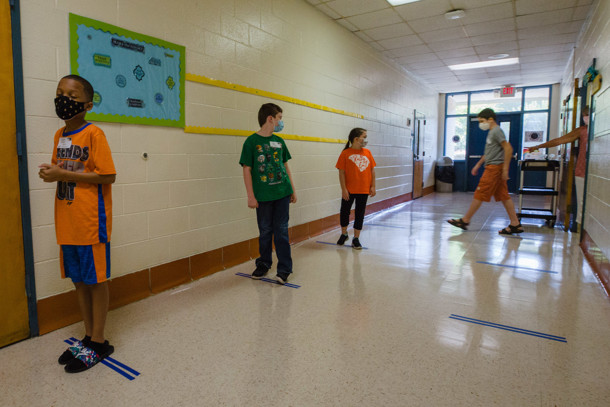 Students in Jayne Evenich's fifth-grade class at Willow Drive Elementary participate in LEAP Days on Thursday with full coronavirus safety protocol in place.