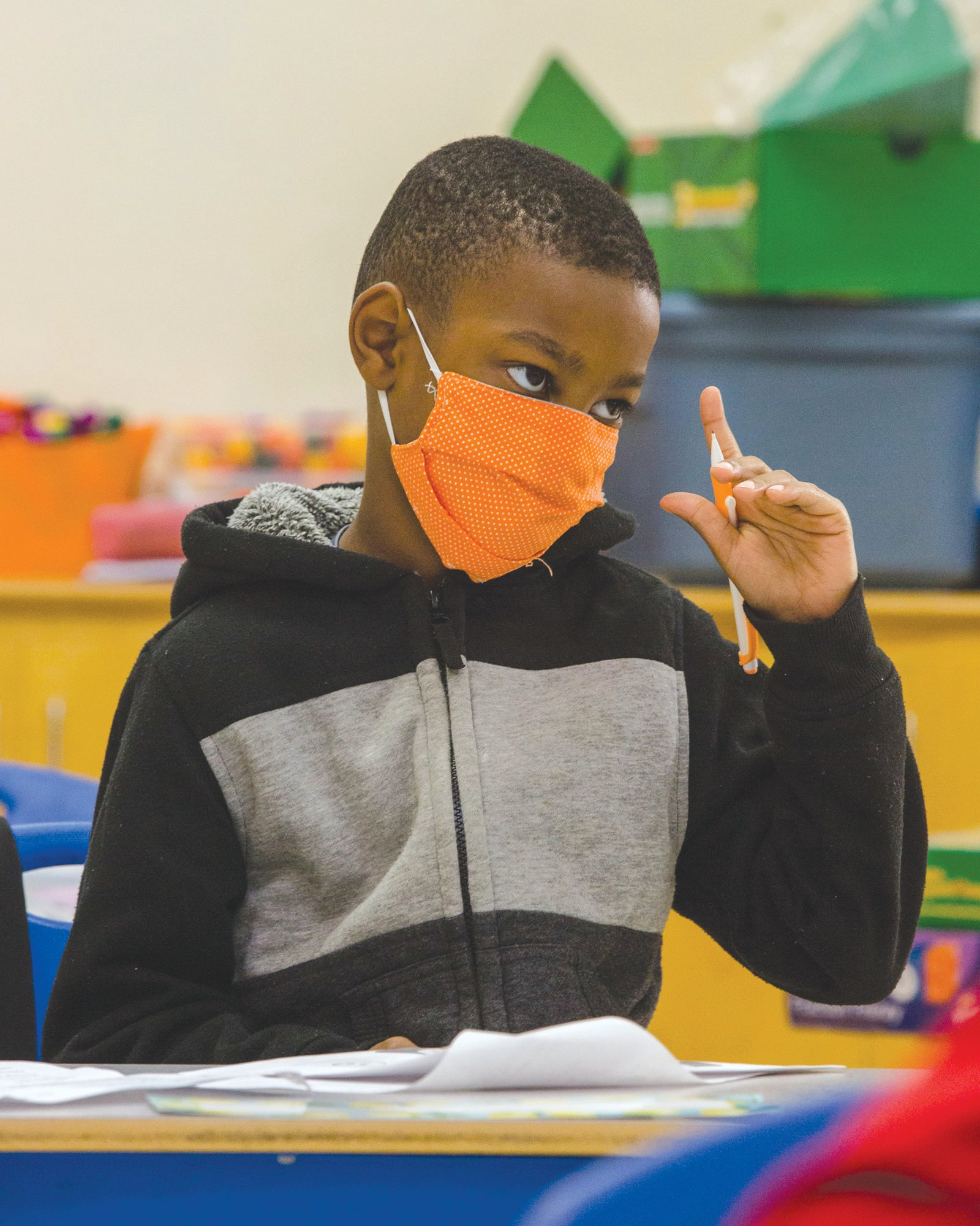 A student in Meredith Avins' 3rd-grade class at Willow Drive Elementary School participates in LEAP days on Thursday, Aug. 13, with full coronavirus safety protocol.