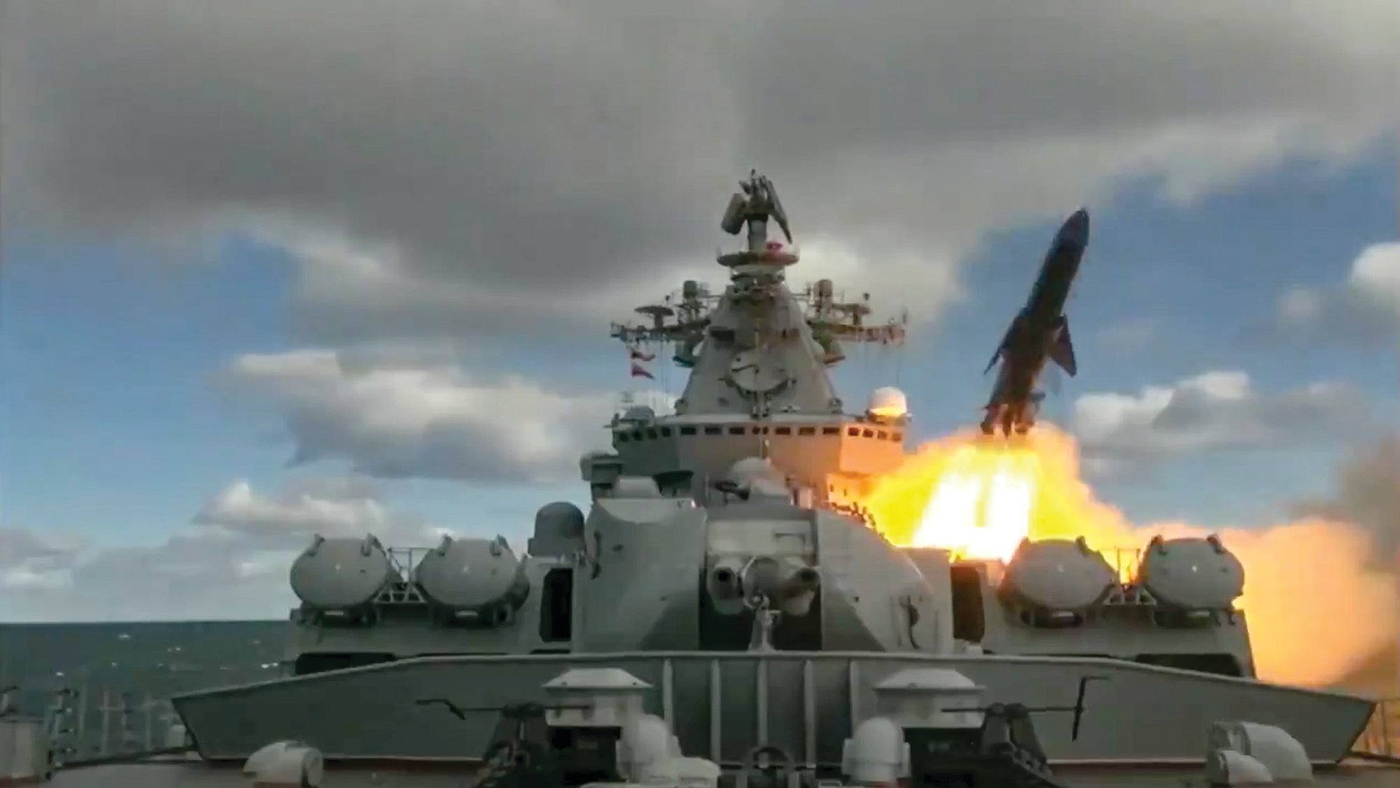 Russian Defense Ministry Press Service via AP   In this undated video grab provided by Russian Defense Ministry Press Service, Russia's Varyag missile cruiser fires a cruise missile as part of the Russian navy maneuvers in the Bering Sea. The Russian navy has conducted massive war games near Alaska involving dozens of ships and aircraft, the biggest such drills in the area since Soviet times.