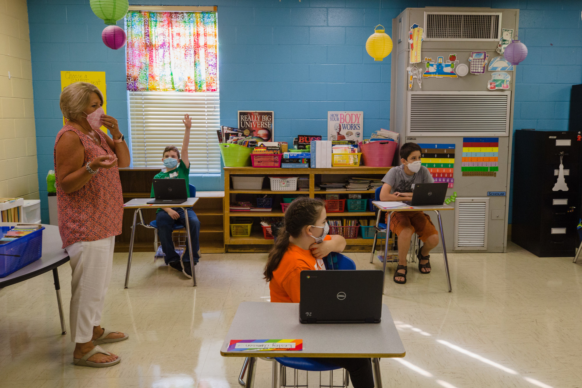 MICAH GREEN / THE SUMTER ITEMStudents in Jayne Evenich's 5th grade class at Willow Drive Elementary participate in LEAP days on Thursday, August 13 with full coronavirus safety protocol.