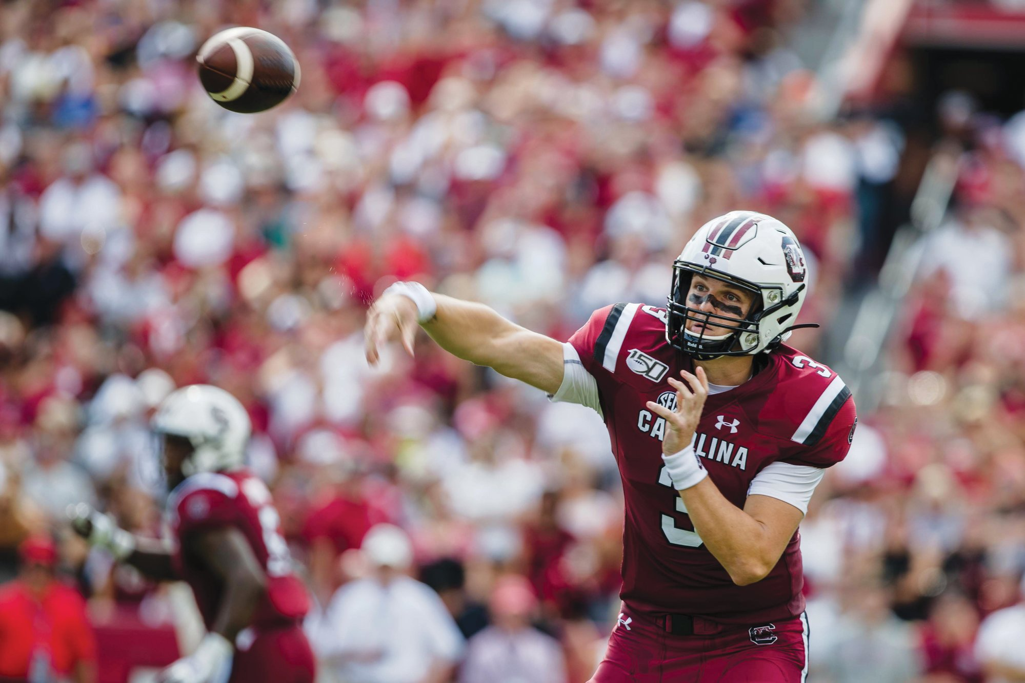 South Carolina's returning starting quarterback Ryan Hilinski (3) is still fighting for his job against transfer quarterback Collin Hill and freshman Luke Doty.
