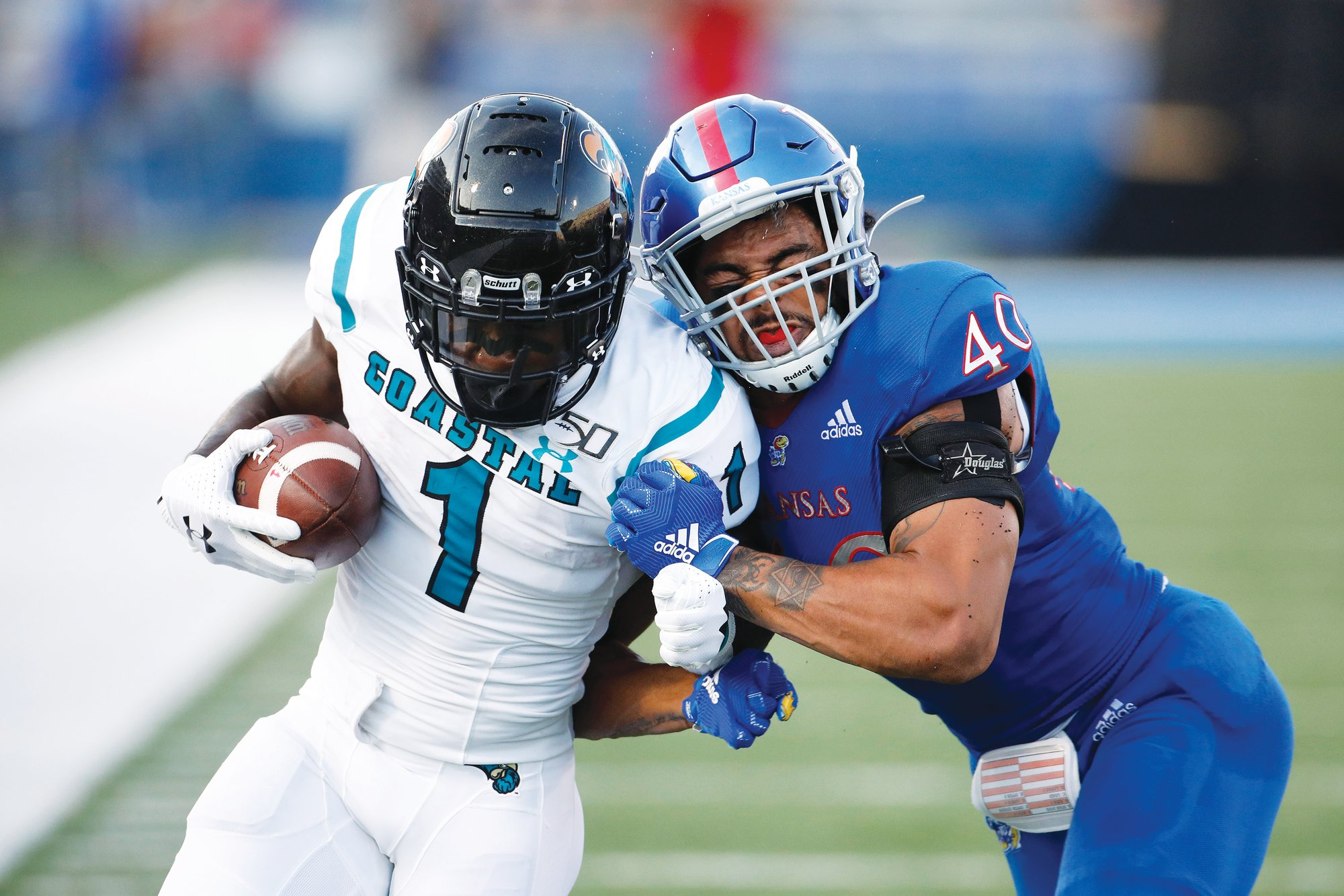 Coastal Carolina running back CJ Marable (1) ran for two touchdowns as the Chanticleers upset Kansas 12-7 last year.