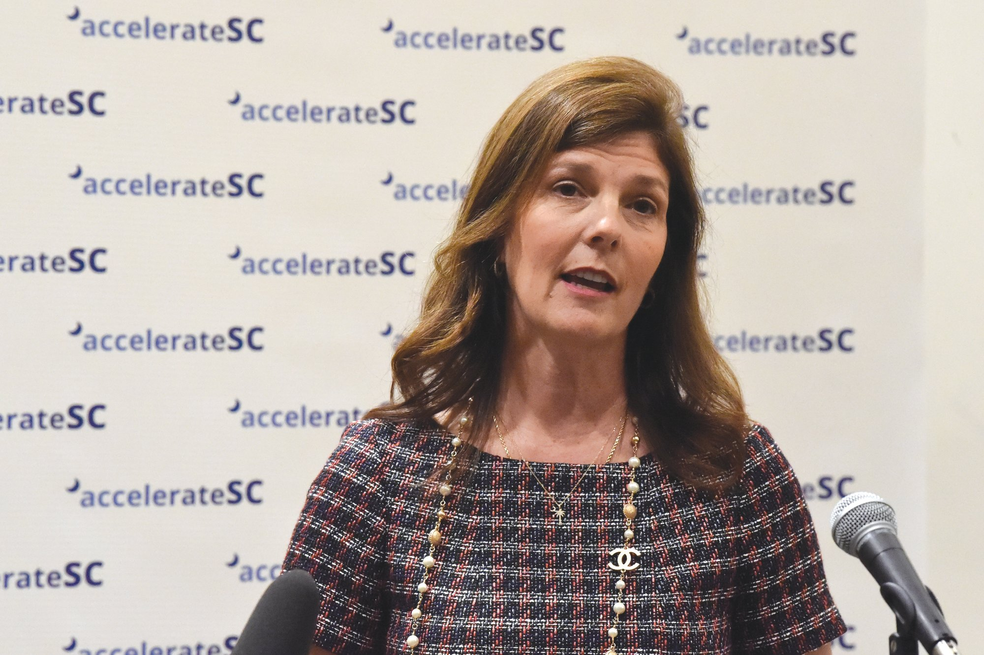 South Carolina Lt. Gov. Pamela Evette speaks with reporters after the first meeting of accelerateSC on April 23 in   Columbia. She was diagnosed with COVID-19 on Friday.