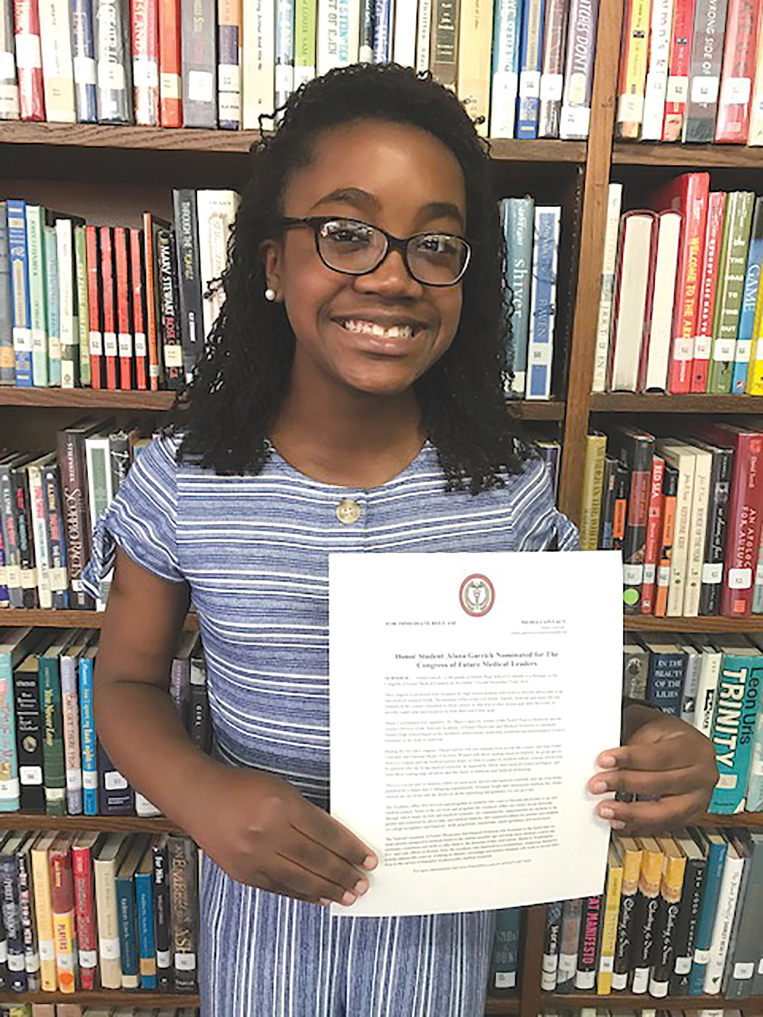 PHOTO PROVIDED  Alana Garrick, Sumter High School ninth-grader, will be part of the Future Medical Leaders event in November.