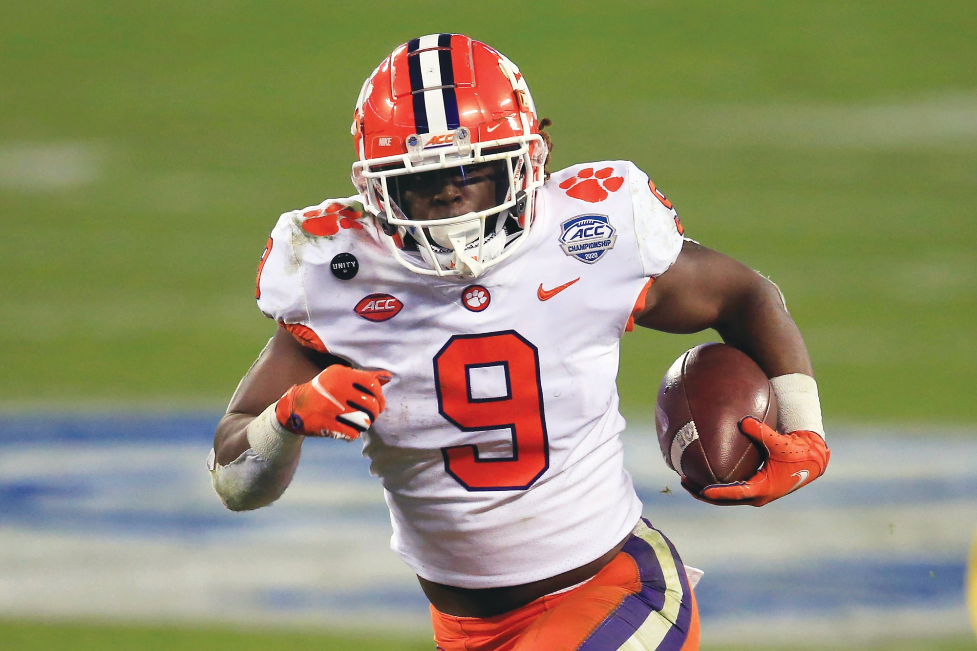 Clemson running back Travis Etienne (9) and the Tigers will face Ohio State in the Sugar Bowl on Friday without offensive coordinator Tony Elliott.