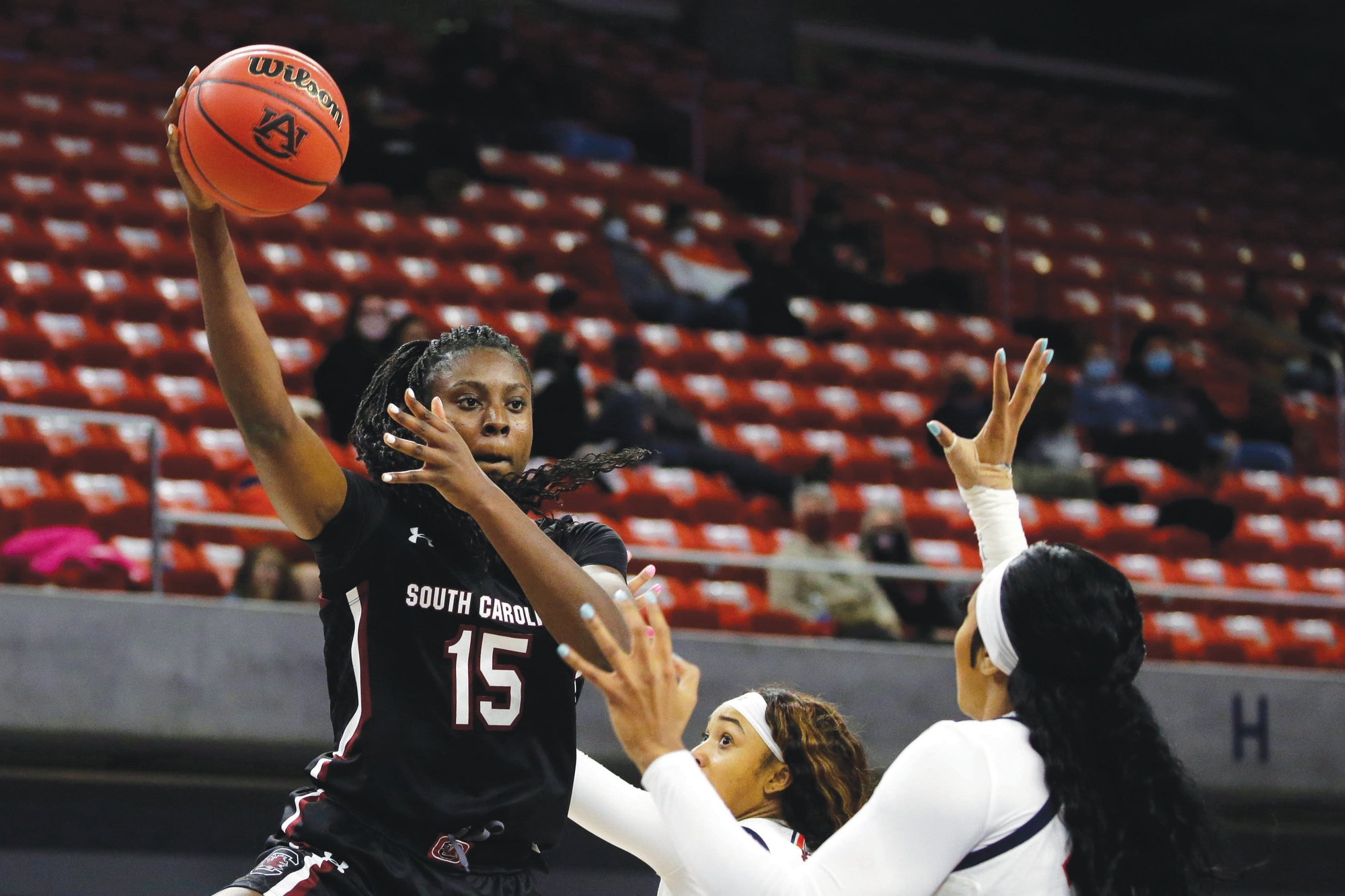 South Carolina forward Laeticia Amihere (15) and the Gamecock are back at the top of The Associated Press top 25 poll. USC played at second-ranked Connecticut on Monday night.