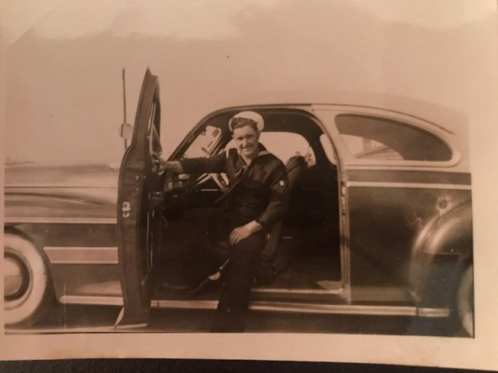 Algie Walker is seen in his Navy uniform during World War II. Walker's daughter is organizing a drive-through parade for his 94th birthday on Saturday, Feb. 20, and has asked veteran motorcycle groups and anyone who wants to join to help celebrate.