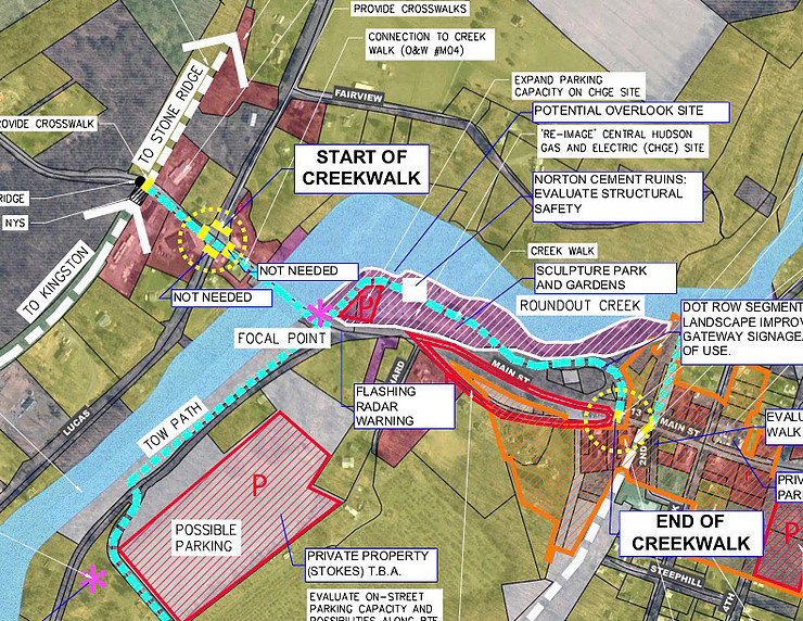 This map accompanied a $50,000 grant application to the Doppelt Foundation Rails to Trails to help fund proposed creek-walk features.