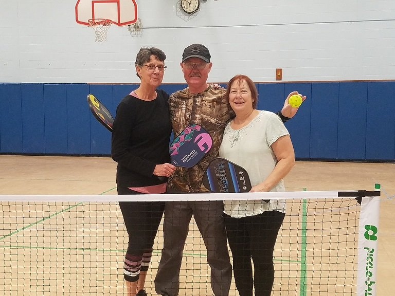 "From (l to r): Pat and Terry Haddock, Marie Perfect. Very ""pickleball"" proactive Town of Rochester residents. Picture taken at Rondout Valley Municipal Center, Dec. 21, 2019"