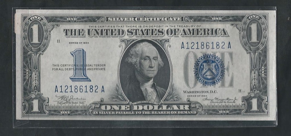 Silver Certificate One Dollar Bill Capitol Coin Stamp Political