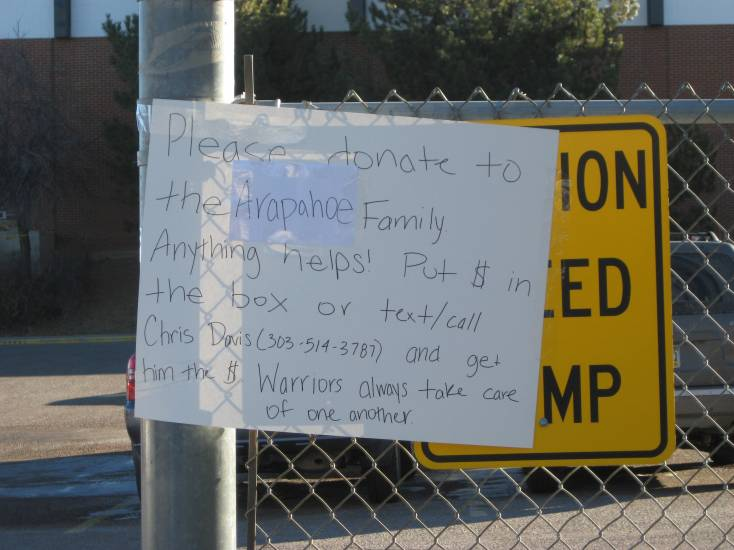 This sign urged the community to help the shooting victim and her family.