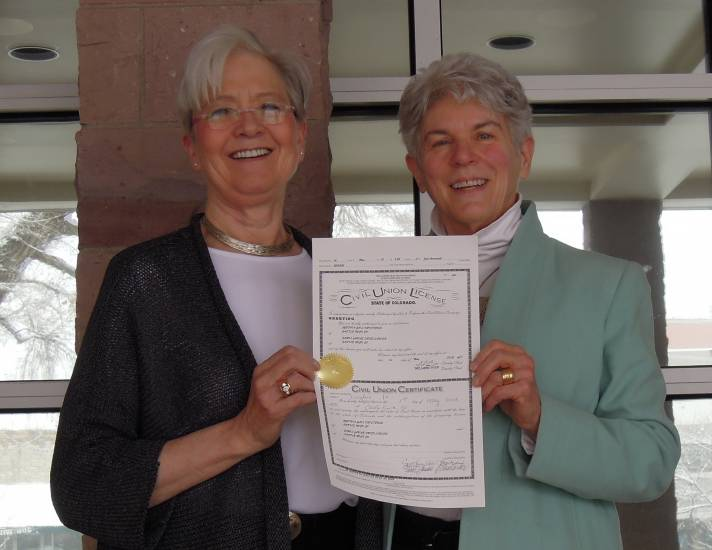 Cynthia Kristensen and Jan Friedlander, of Castle Pines, were one of the first two Douglas County couples to enter into a civil union May 1 at the Wilcox Building in Castle Rock. The couple has been together for more than 26 years.