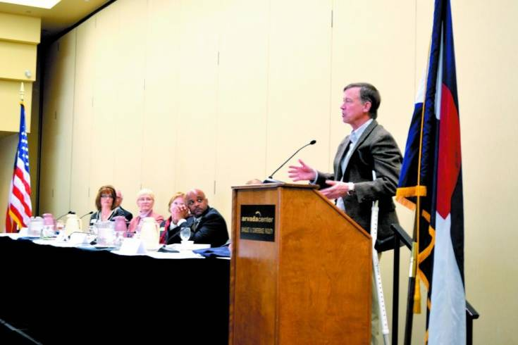 Gov. John Hickenlooper addressed those assembled about the facts and realities of Amendment 66 during the session last year.