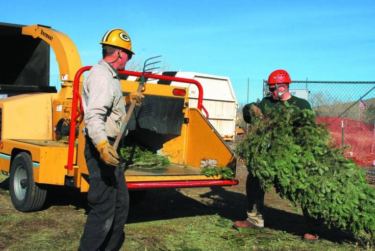David High, left, city forester for the city of Golden works with Jonathan Robb, senior forestry maintenance worker as they place dropped-off Christmas trees in a wood chipper as part of the annual Christmas tree recycle initiative.