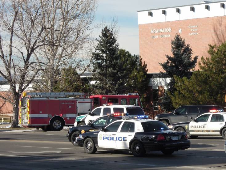 The scene outside Arapahoe High School on Dec. 13. The investigation continues. File photo
