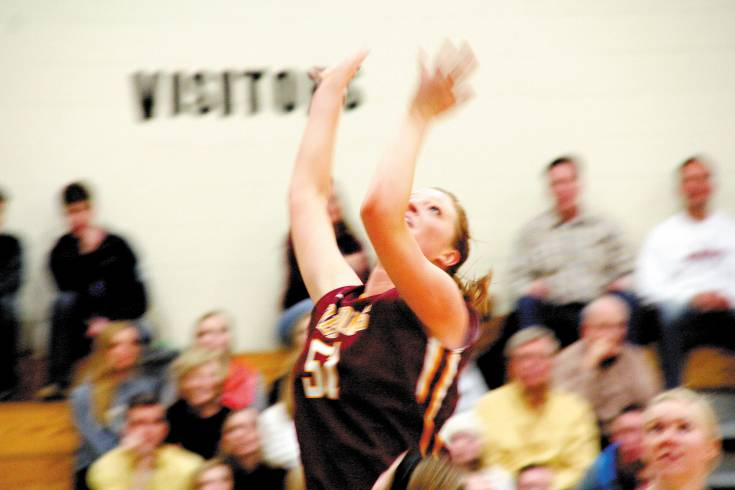 Senior Haley Blodgett goes airborne and rips down yet another rebound during Golden's victory over Wheat Ridge on Friday.