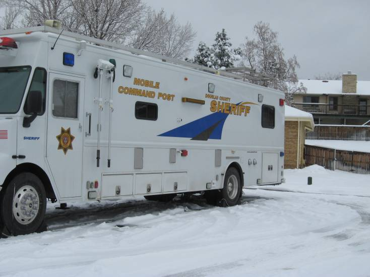 The sheriff's office had a mobile command center set up outside the home.