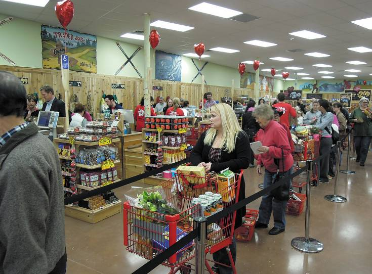 Check-out lines were long but moved quickly at the Feb. 14 openng of Trader Joe's in Greenwood Village. Photo by George Lurie