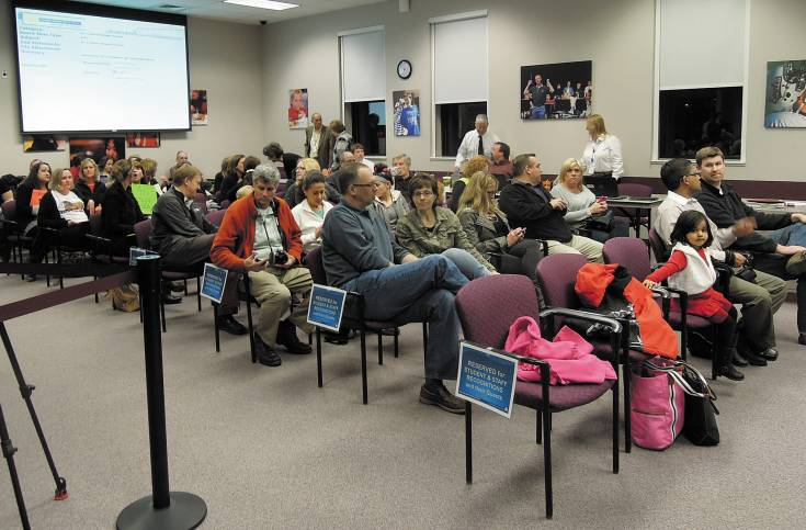 Seating in the Douglas County School District board of education's meeting room in Castle Rock has been reduced. About 60 chairs were available for audience members at the regular Feb. 18 meeting. Fire code sets total capacity at 145.