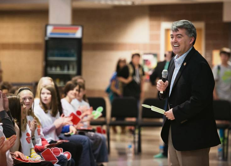 Rep. Cory Gardner, who represents the fourth congressional district, speaks to Cimarron Middle School sixth-graders about safe online practices during a Google-sponsored event Feb. 24. The program taught kids how to be smart about the content they share. Courtesy photo