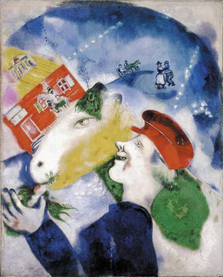 �La vie paysanne (Peasant Life)� 1925 by Marc Chagall (French, born Russia 1887-1985) is a 39-inch by 31-inch oil on canvas. It appears in the Modern Masters exhibit at the Denver Art Museum through June 8.