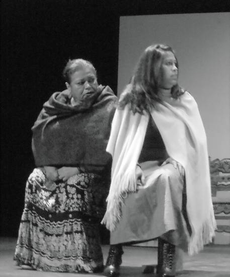 Yolanda Ortega and Magally Luna perform in �Ludlow: El Grito de las Minas,� a play written by Anthony Garcia to observe the 100th anniversary of the Ludlow Massacre in Colorado, playing at Su Teatro.