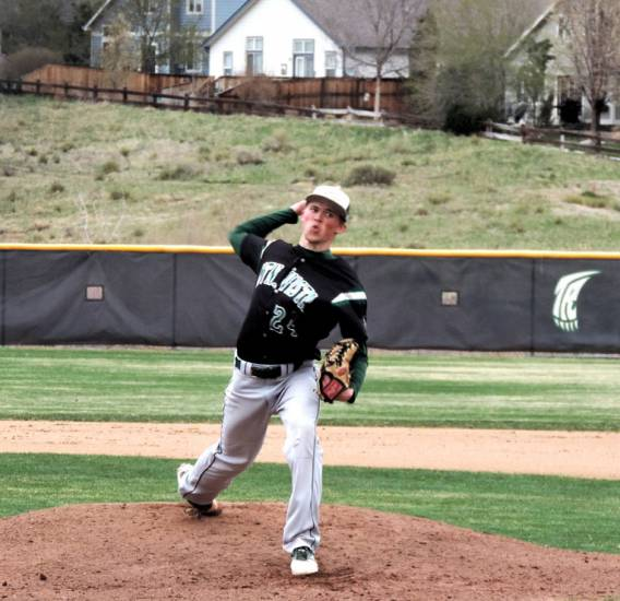 Mountain Vista starter Nick Leonard pitched seven innings, allowing four hits, no runs and striking out 13 batters in a 3-0 victory over ThunderRidge on April 16. Photo by Jim Benton