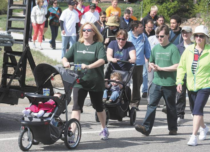 Some participants in the NAMI Walk on May 17 at Centennial Center Park brought the little ones along for a stroll.