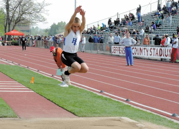 Connor Turnage of Highlands Ranch won the triple jump in 48 feet, 9.75 inches, earning himself his third consecutive state title in the event.