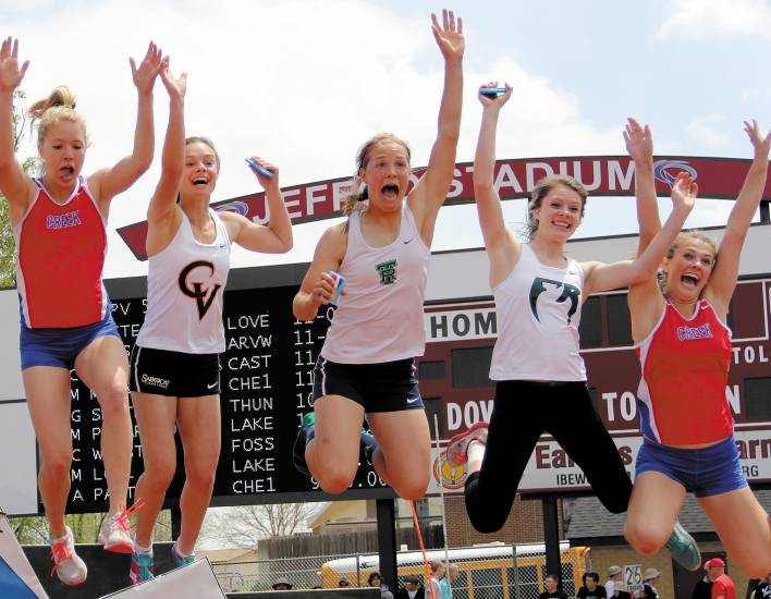 The top finishers in the Class 5A girls pole vault jump for joy after receiving their medals on May 15 in Lakewood. From left, Cherry Creek's Megan McCabe (tie-3rd), Castle View's Christina Stathakis (tie-3rd), ThunderRidge's Gabrielle Smith (5th), Fossil Ridge's Chloe West (7th) and Cherry Creek's Avery Paxten (9th).