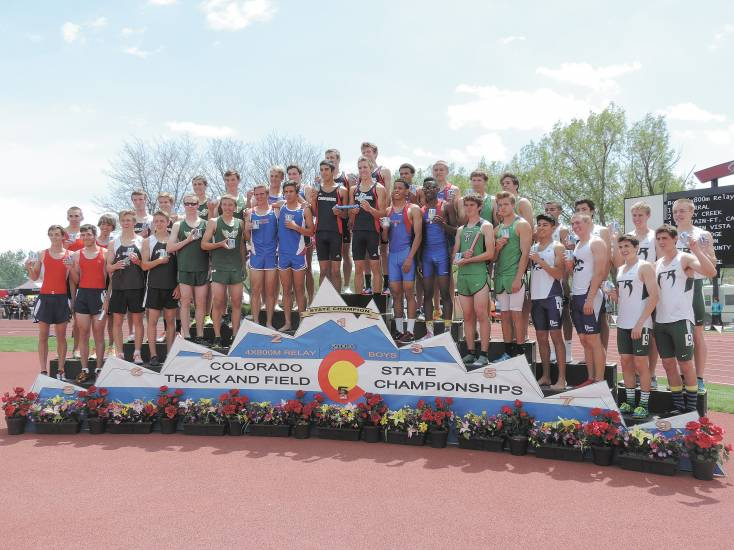 The podium was crowed with south metro schools as Chaparral won the 4x800 meter Class 5A relay. Cherry Creek was second, Mountain Vista fourth, Rock Canyon sixth and Douglas County seventh.