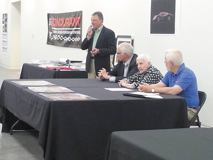 (From left) Dan Meyers introduces Dennis Little, Denise McCluggage and Jim Stranberg, guest judges for this year's Colorado Concours d'Elegance and Exotic Sports Car Show. Photo by Jennifer Smith