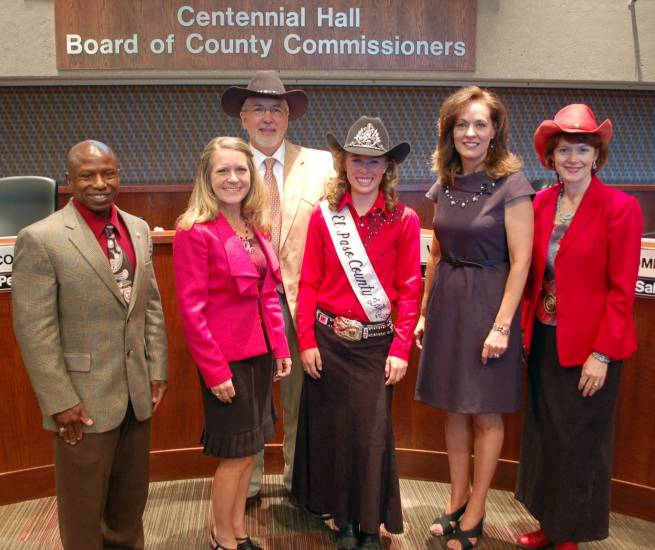 El Paso County Fair Queen Maggie Murphy visited the Board of Commissioners Thursday, June 19, to promote the 2014 El Paso County Fair, which is July 19 to 26 at the Fairgrounds in Calhan.