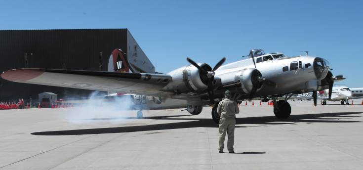 "The ""Aluminum Overcast,"" one of five B-17s still flying, is shown at Centennial Airport on June 19. Photo by Chris Michlewicz"
